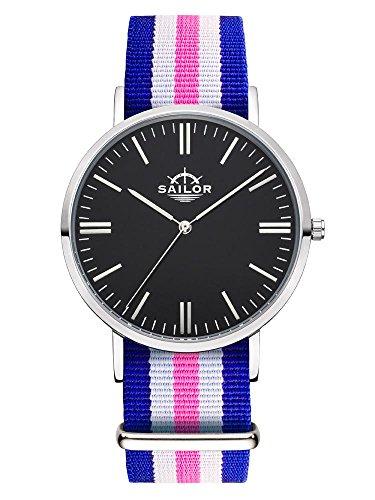 Sailor Armbanduhr Classic Port Side silver mit Nylonarmband Farbe Ziffernblatt schwarz Durchmesser 36mm