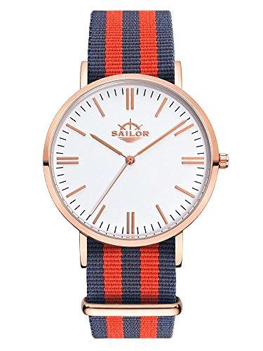 Sailor Armbanduhr Classic Haiti mit Nylonarmband Farbe Ziffernblatt weiss Durchmesser 40mm