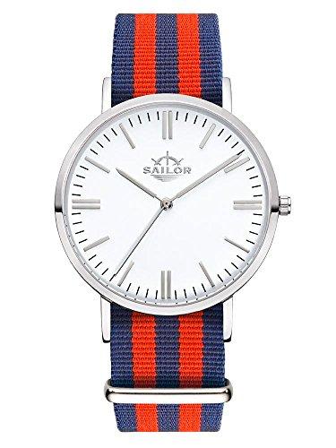 Sailor Armbanduhr Classic Haiti silver mit Nylonarmband Farbe Ziffernblatt weiss Durchmesser 40mm