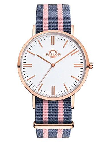 Sailor Armbanduhr Classic Dock mit Nylonarmband Farbe Ziffernblatt weiss Durchmesser 36mm