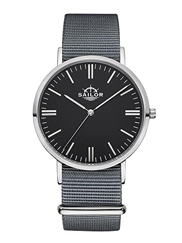Sailor Armbanduhr Classic Moon silver mit Nylonarmband Farbe Ziffernblatt schwarz Durchmesser 40mm