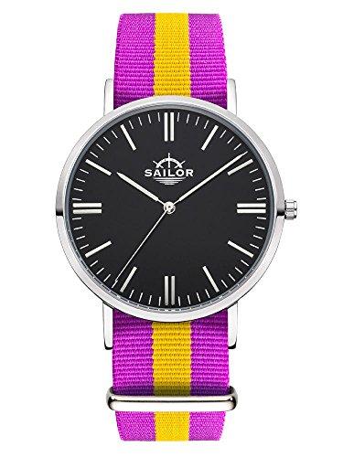 Sailor Armbanduhr Classic Port Antonio silver mit Nylonarmband Farbe Ziffernblatt schwarz Durchmesser 40mm