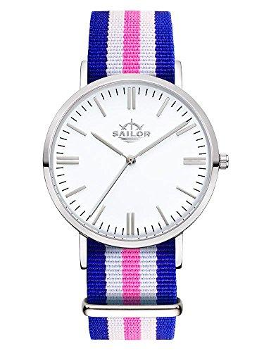 Sailor Armbanduhr Classic Port Side silver mit Nylonarmband Farbe Ziffernblatt weiss Durchmesser 36mm