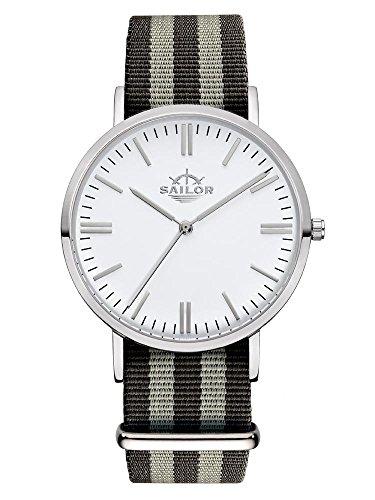 Sailor Armbanduhr Classic Anchor silver mit Nylonarmband Farbe Ziffernblatt weiss Durchmesser 36mm