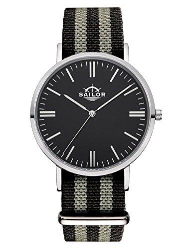 Sailor Armbanduhr Classic Anchor silver mit Nylonarmband Farbe Ziffernblatt schwarz Durchmesser 36mm