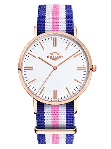 Sailor Armbanduhr Classic Port Side mit Nylonarmband Farbe Ziffernblatt weiss Durchmesser 36mm
