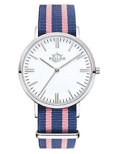 Sailor Armbanduhr Classic Dock silver mit Nylonarmband Farbe Ziffernblatt weiss Durchmesser 36mm