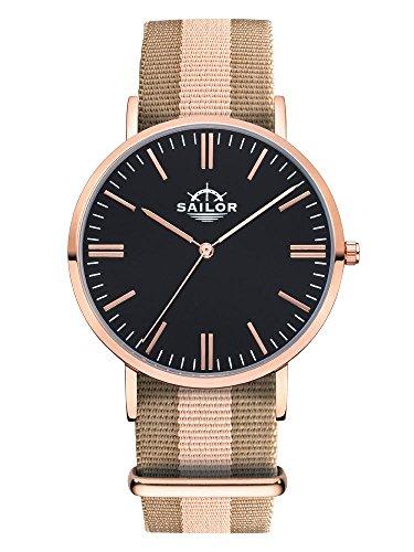 Sailor Armbanduhr Classic Habour mit Nylonarmband Farbe Ziffernblatt schwarz Durchmesser 36mm