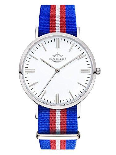 Sailor Armbanduhr Classic Costa silver mit Nylonarmband Farbe Ziffernblatt weiss Durchmesser 40mm