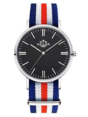 Sailor Armbanduhr Classic Marine silver mit Nylonarmband Farbe Ziffernblatt schwarz Durchmesser 36mm
