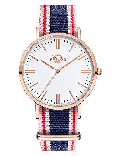 Sailor Armbanduhr Classic Gambi mit Nylonarmband Farbe Ziffernblatt weiss Durchmesser 40mm