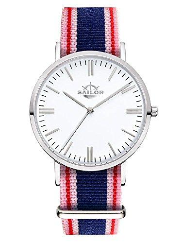 Sailor Armbanduhr Classic Gambi silver mit Nylonarmband Farbe Ziffernblatt weiss Durchmesser 40mm