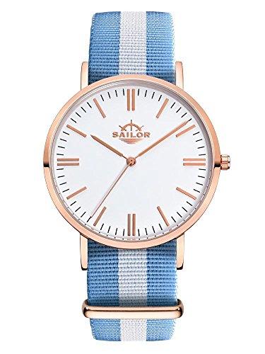 Sailor Armbanduhr Classic Sail mit Nylonarmband Farbe Ziffernblatt weiss Durchmesser 36mm