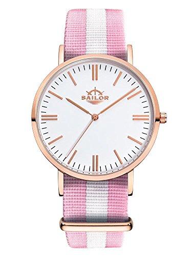Sailor Armbanduhr Classic Sun mit Nylonarmband Farbe Ziffernblatt weiss Durchmesser 36mm