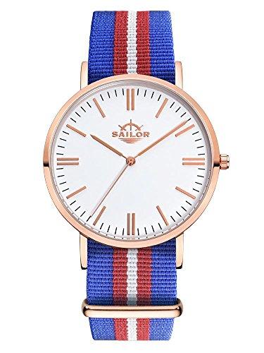Sailor Armbanduhr Classic Costa mit Nylonarmband Farbe Ziffernblatt weiss Durchmesser 40mm