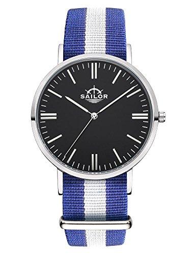 Sailor Armbanduhr Classic Captain silver mit Nylonarmband Farbe Ziffernblatt schwarz Durchmesser 40mm