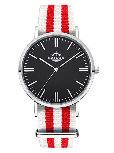 Sailor Armbanduhr Classic Negril silver mit Nylonarmband Farbe Ziffernblatt schwarz Durchmesser 40mm
