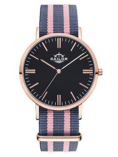 Sailor Armbanduhr Classic Dock mit Nylonarmband Farbe Ziffernblatt schwarz Durchmesser 36mm