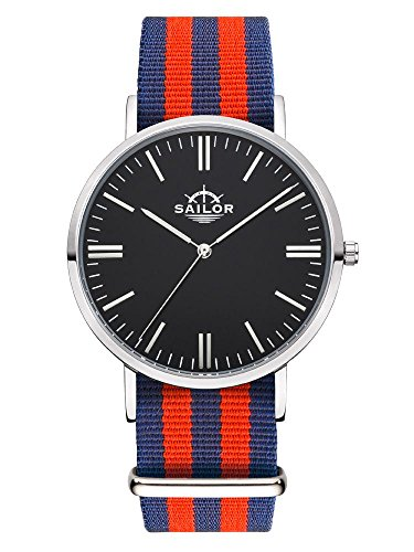 Sailor Armbanduhr Classic Haiti silver mit Nylonarmband Farbe Ziffernblatt schwarz Durchmesser 40mm