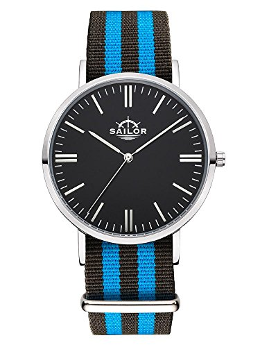 Sailor Armbanduhr Classic Black Ocean silver mit Nylonarmband Farbe Ziffernblatt schwarz Durchmesser 40mm