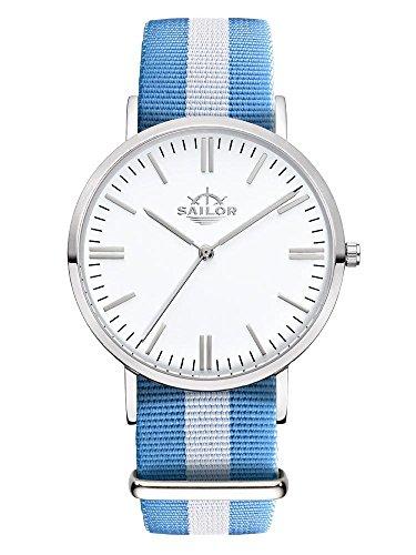 Sailor Armbanduhr Classic Sail silver mit Nylonarmband Farbe Ziffernblatt weiss Durchmesser 36mm
