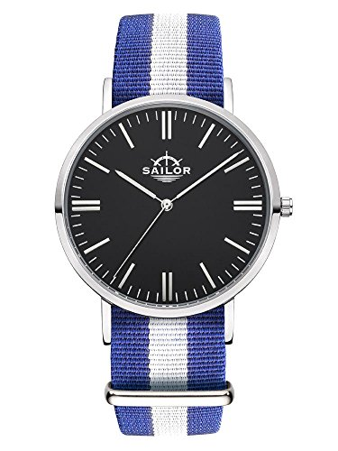 Sailor Armbanduhr Classic Captain silver mit Nylonarmband Farbe Ziffernblatt schwarz Durchmesser 36mm