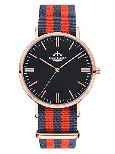 Sailor Armbanduhr Classic Haiti mit Nylonarmband Farbe Ziffernblatt schwarz Durchmesser 40mm