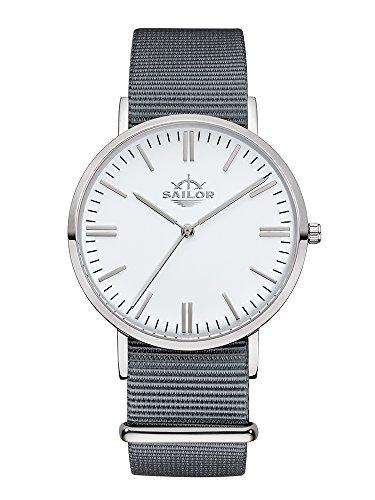Sailor Armbanduhr Classic Moon silver mit Nylonarmband Farbe Ziffernblatt weiss Durchmesser 36mm