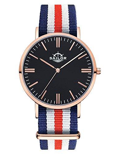 Sailor Armbanduhr Classic Marine mit Nylonarmband Farbe Ziffernblatt schwarz Durchmesser 40mm