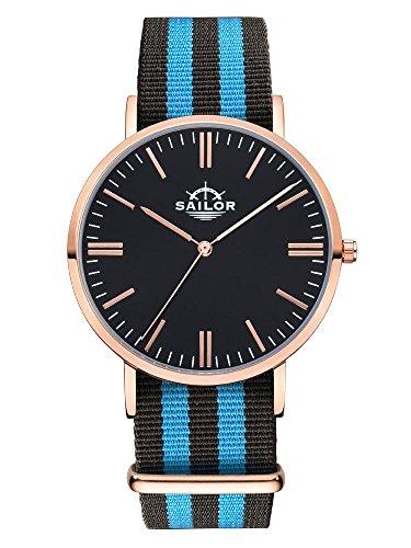 Sailor Armbanduhr Classic Black Ocean mit Nylonarmband Farbe Ziffernblatt schwarz Durchmesser 40mm