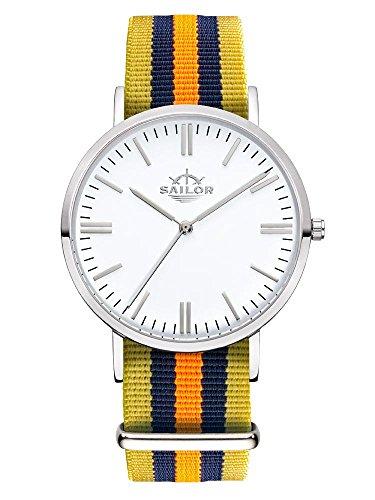 Sailor Armbanduhr Classic Shelf silver mit Nylonarmband Farbe Ziffernblatt weiss Durchmesser 40mm