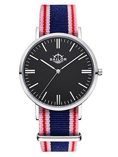 Sailor Armbanduhr Classic Gambi silver mit Nylonarmband Farbe Ziffernblatt schwarz Durchmesser 40mm