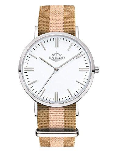Sailor Armbanduhr Classic Habour silver mit Nylonarmband Farbe Ziffernblatt weiss Durchmesser 36mm