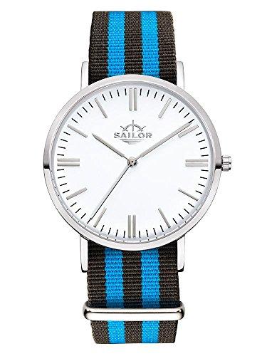 Sailor Armbanduhr Classic Black Ocean silver mit Nylonarmband Farbe Ziffernblatt weiss Durchmesser 40mm