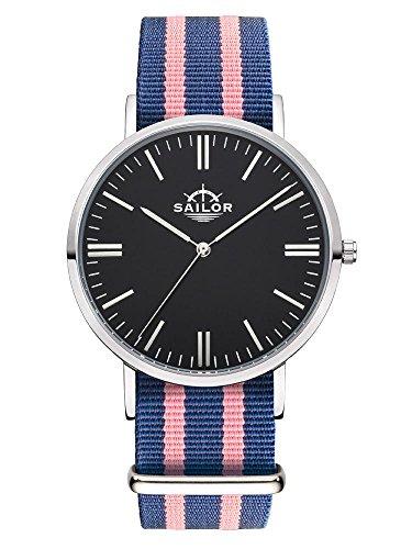 Sailor Armbanduhr Classic Dock silver mit Nylonarmband Farbe Ziffernblatt schwarz Durchmesser 36mm