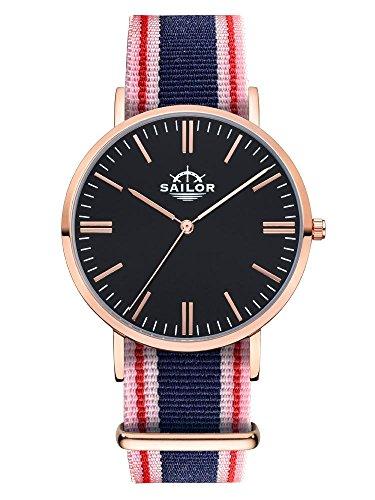 Sailor Armbanduhr Classic Gambi mit Nylonarmband Farbe Ziffernblatt schwarz Durchmesser 40mm
