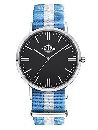 Sailor Armbanduhr Classic Sail silver mit Nylonarmband Farbe Ziffernblatt schwarz Durchmesser 36mm