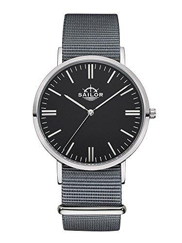 Sailor Armbanduhr Classic Moon silver mit Nylonarmband Farbe Ziffernblatt schwarz Durchmesser 36mm