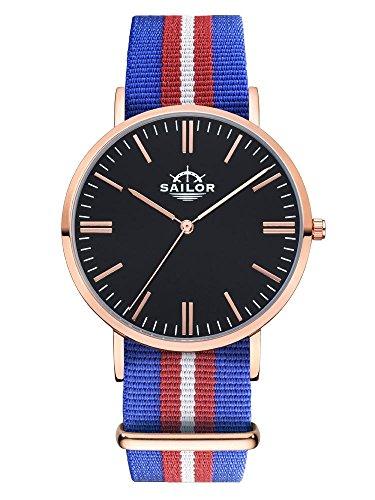 Sailor Armbanduhr Classic Costa mit Nylonarmband Farbe Ziffernblatt schwarz Durchmesser 40mm