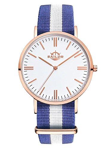 Sailor Armbanduhr Classic Captain mit Nylonarmband Farbe Ziffernblatt weiss Durchmesser 36mm