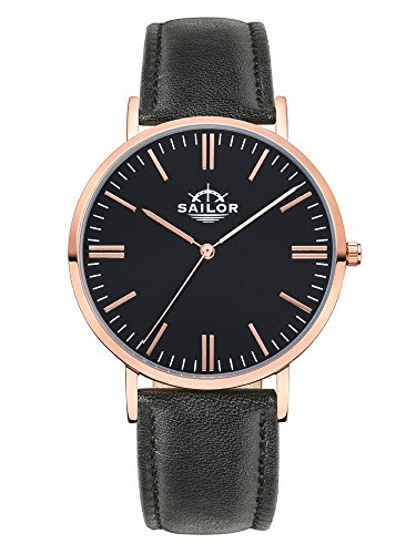 Sailor Armbanduhr Classic Basic black mit rosegold Lederarmband Farbe Ziffernblatt schwarz Durchmesser 40mm