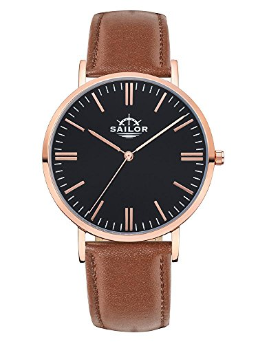 Sailor Armbanduhr Classic Basic brown mit rosegold Lederarmband Farbe Ziffernblatt schwarz Durchmesser 36mm