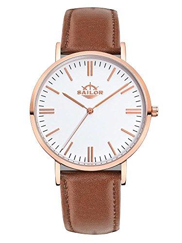 Sailor Armbanduhr Classic Basic brown mit rosegold Lederarmband Farbe Ziffernblatt weiss Durchmesser 36mm