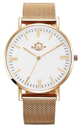 Sailor Armbanduhr Classic Style rosegold mit Milanaise Armband Farbe Ziffernblatt weiss Durchmesser 36mm