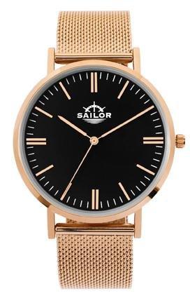 Sailor Armbanduhr Classic Style rosegold mit Milanaise Armband Farbe Ziffernblatt schwarz Durchmesser 36mm