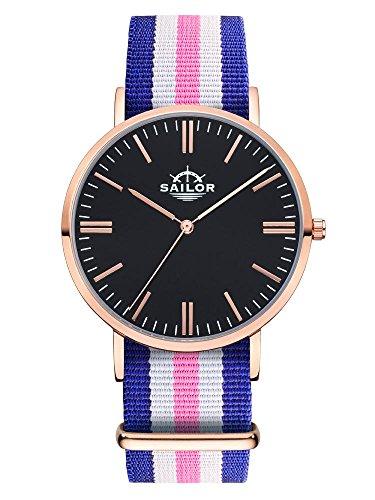 Sailor Armbanduhr Classic Port Side rosegold mit Nylonarmband Farbe Ziffernblatt schwarz Durchmesser 36mm