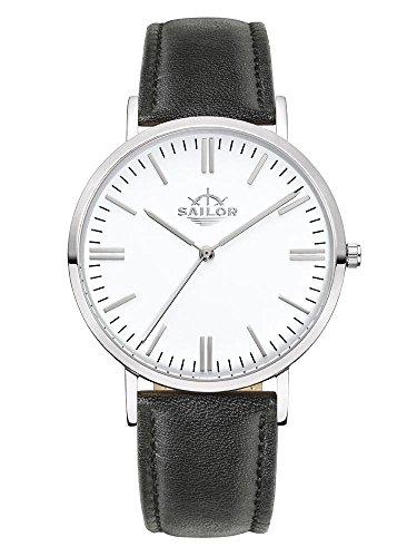 Sailor Armbanduhr Classic Basic black silber mit schwarzen Lederarmband Farbe Ziffernblatt weiss Durchmesser 36mm