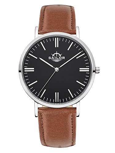 Sailor Armbanduhr Classic Basic brown silber mit schwarzen Lederarmband Farbe Ziffernblatt schwarz Durchmesser 40mm
