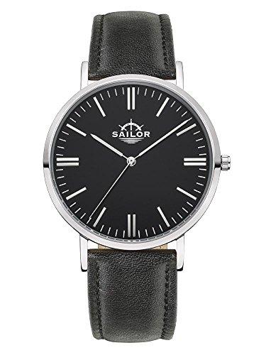 Sailor Armbanduhr Classic Basic black silber mit schwarzen Lederarmband Farbe Ziffernblatt schwarz Durchmesser 36mm