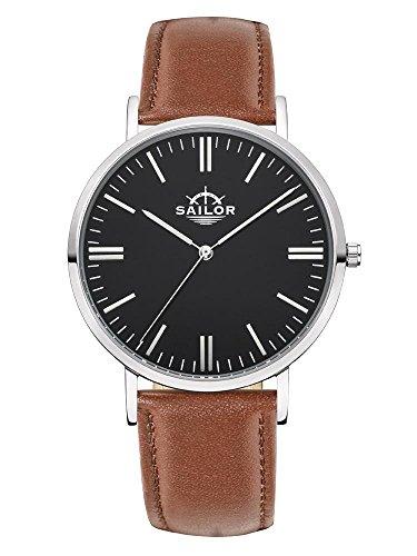 Sailor Armbanduhr Classic Basic brown silber mit schwarzen Lederarmband Farbe Ziffernblatt schwarz Durchmesser 36mm